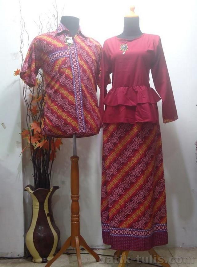 batik sarimbit gamis merah