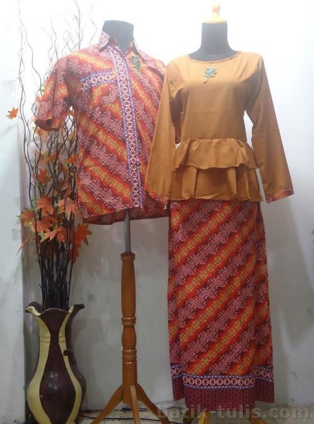 batik sarimbit gamis oranye