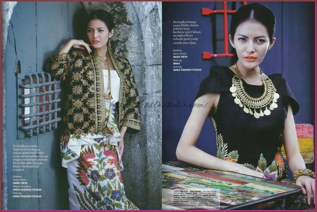Model Baju Batik Kombinasi Polos Wanita