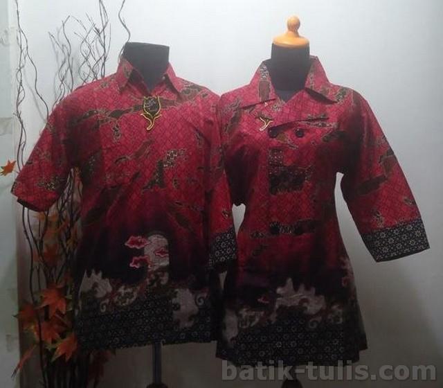 batik sarimbit blouse merah