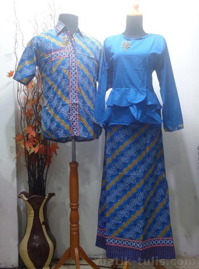 batik sarimbit gamis biru