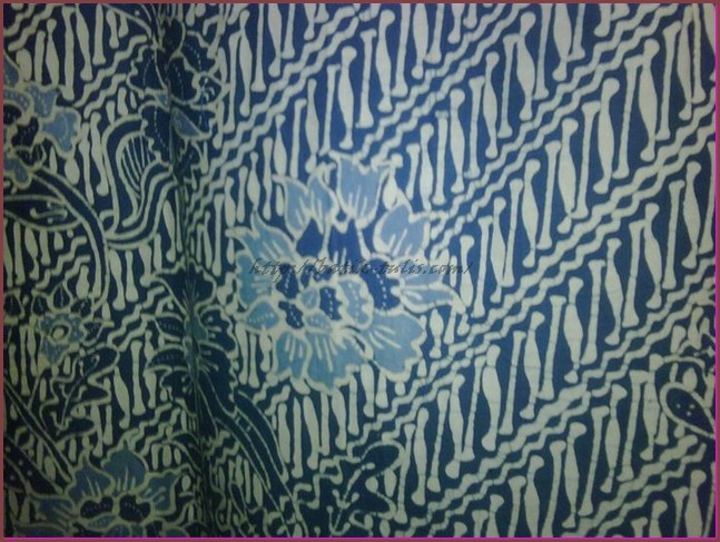 batik indigo motif buket kembang lereng